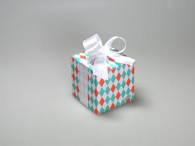 Betty Ocean/Oranje arlequin kubus doosje (24 stuks)