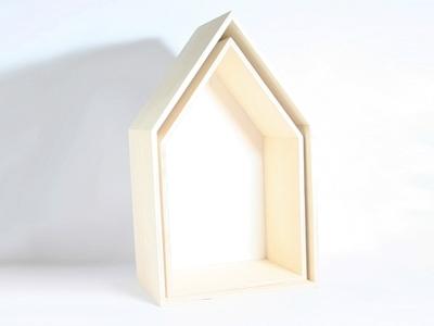 Naturalplus huisje wit hout set 2 stuks