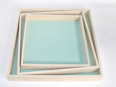 Naturalplus vierkant mint houten dienblad set 3 stuks