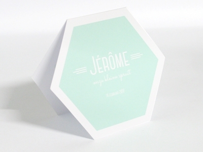 Naturalplus 6-hoekig wit Jerome geboortekaart