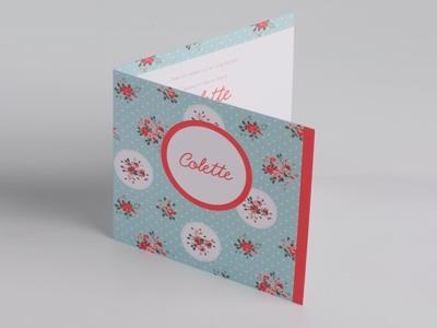 Geboortekaart pom Colette bloem