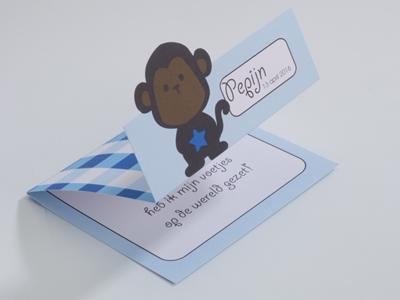 Geboortekaart Aap Boboo blauw