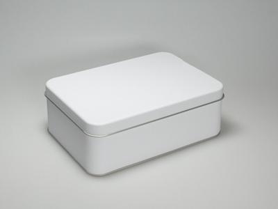 Wit blik rechthoek doos medium (2 stuks)