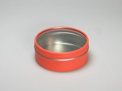 Oranje blik rond doorzichtig deksel (24 stuks)