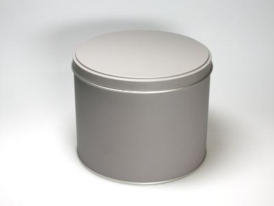 Taupe blik hoog ronde doos large (2 stuks)
