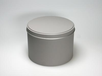 Taupe blik hoog ronde doos medium (2 stuks)