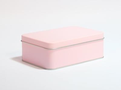 Roze blik rechthoek doos medium (2 stuks)