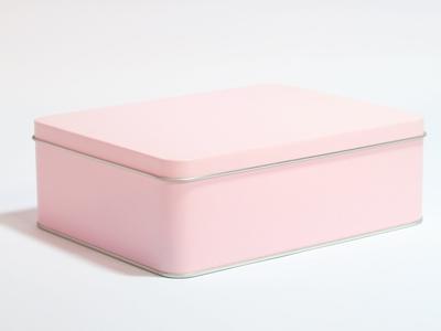 Roze blik rechthoek doos large (2 stuks)