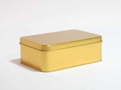 Goud blik rechthoek doos medium (2 stuks)
