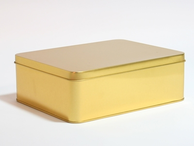 Goud blik rechthoek doos large (2 stuks)