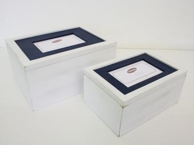 Foto box marineblauw set 2-4