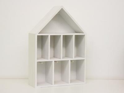 Houten huisje 8 vakken wit