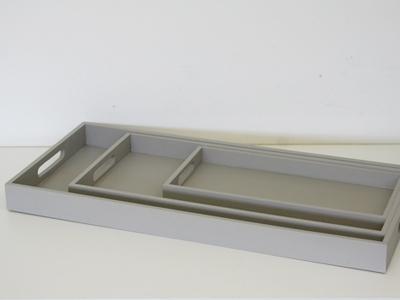 Dienblad rechthoek marmer grijs set 3
