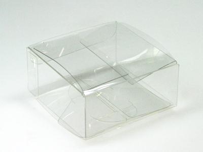 Pet plat vierkant doosje 8,1x8,1x3,9 cm (24 stuks)