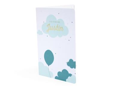 Olifantje Balthazar licht blauw Justin geboortekaart