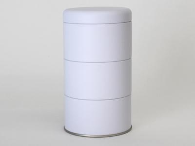 Wit blik rond 3 stuks met deksel (2 stuks)