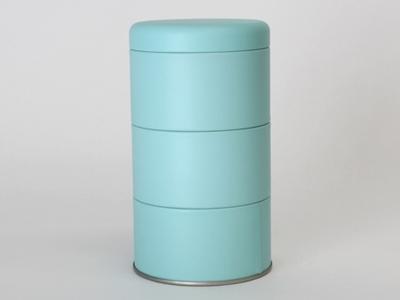 Aqua blik rond 3 stuks met deksel (2 stuks)