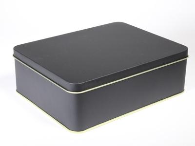 Zwart blik rechthoek doos large (2 stuks)