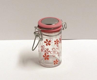 Glazen potje fushia deksel met bloemen - enkel afhalen