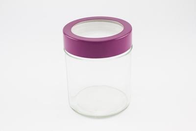 Glaspot groot aubergine metalen rand - enkel afhalen