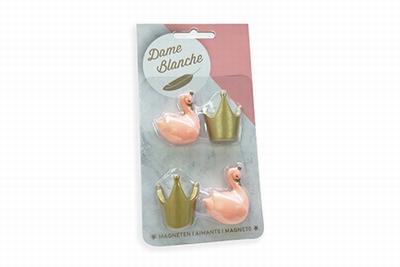 Zwaan blanche peache magneet zwaan-kroon per 4 stuks