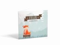 Cesar Fox oranje Felix geboortekaart