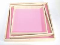 Naturalplus vierkant flamingo houten dienblad set 3 stuks