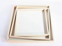Naturalplus vierkant wit houten dienblad set 3 stuks