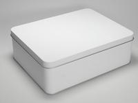 Wit blik rechthoek doos large (2 stuks)