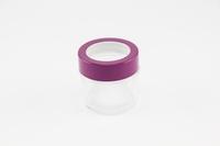 Glaspotje aubergine metalen rand - enkel afhalen